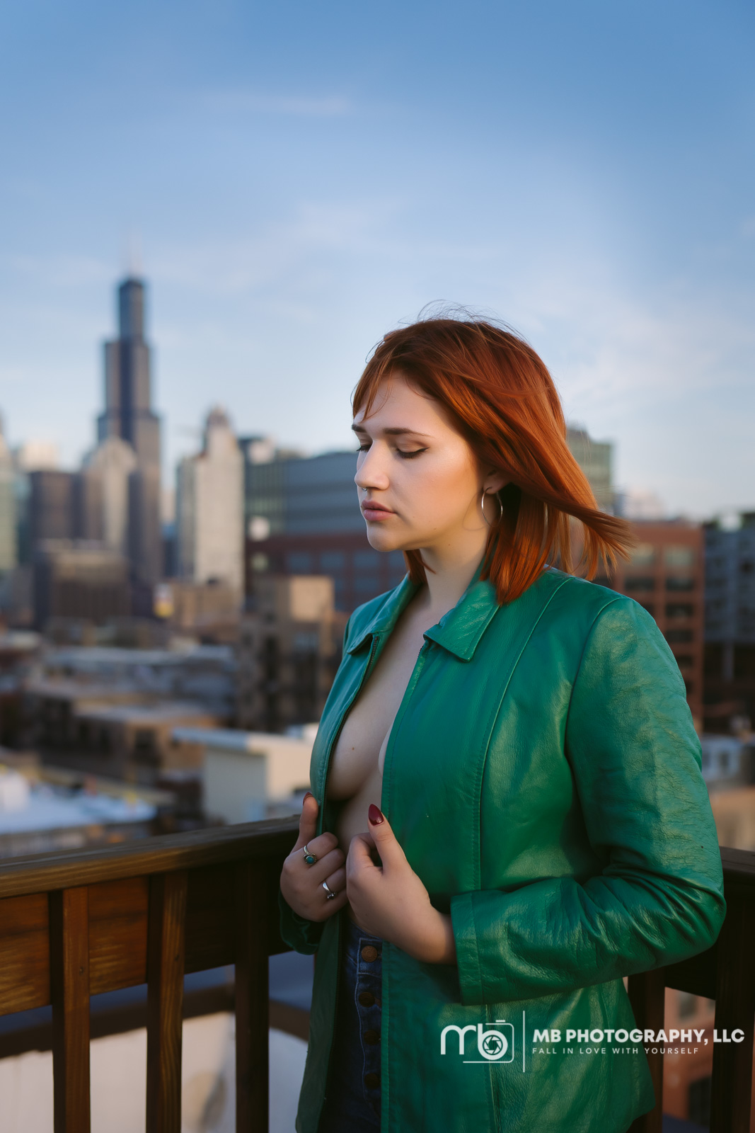 Chicago Boudoir Session with the sears tower in the background.
